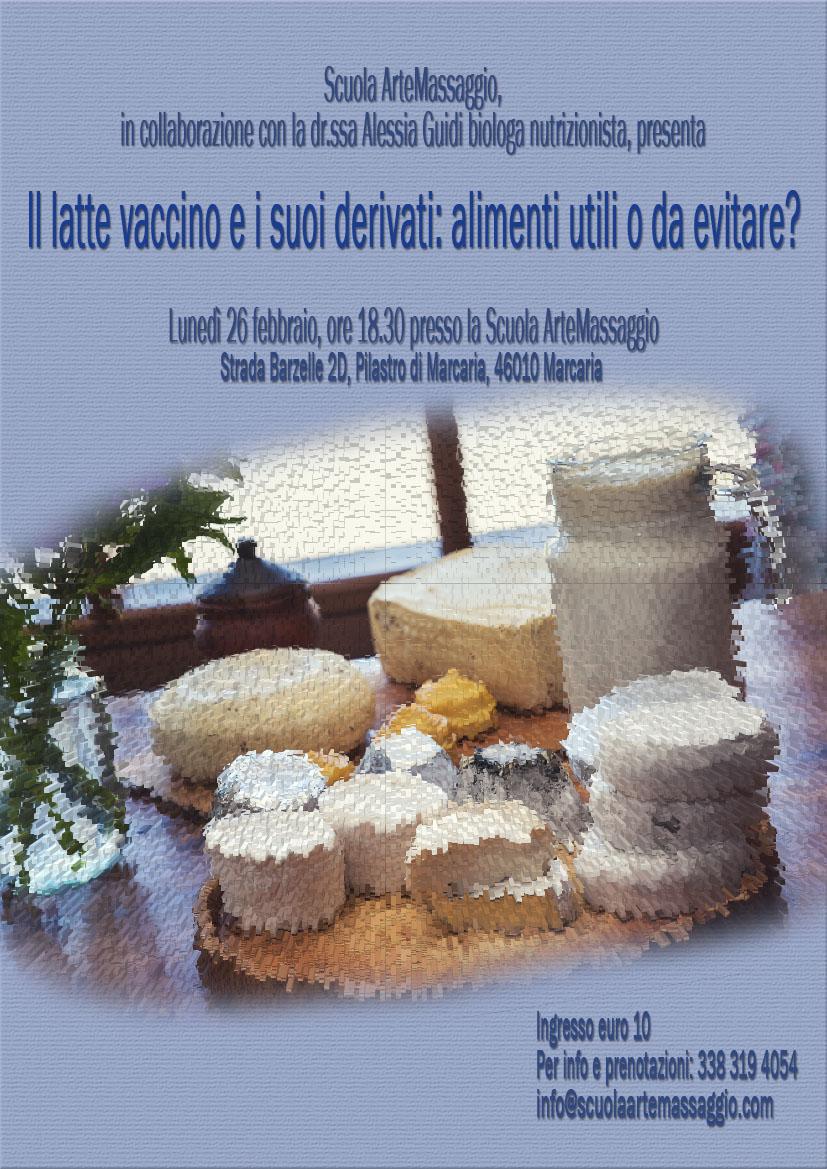 Locandina evento Scuola ArteMassaggio: latte vaccino e derivati
